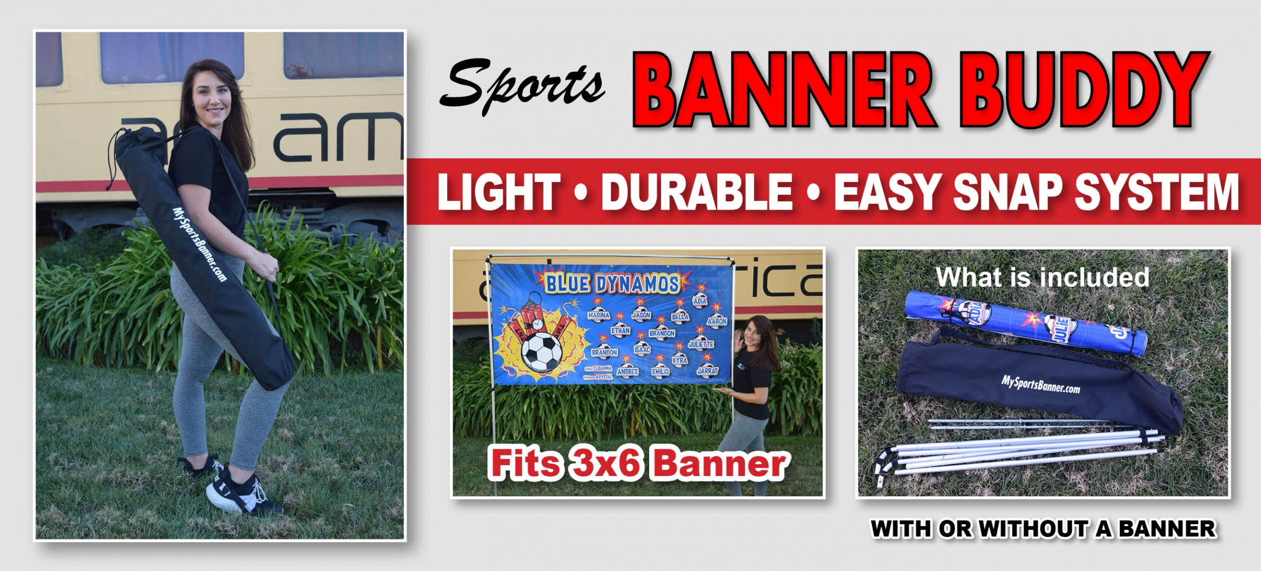 Sports Banner Buddy - Stand, Banner & Bag Package